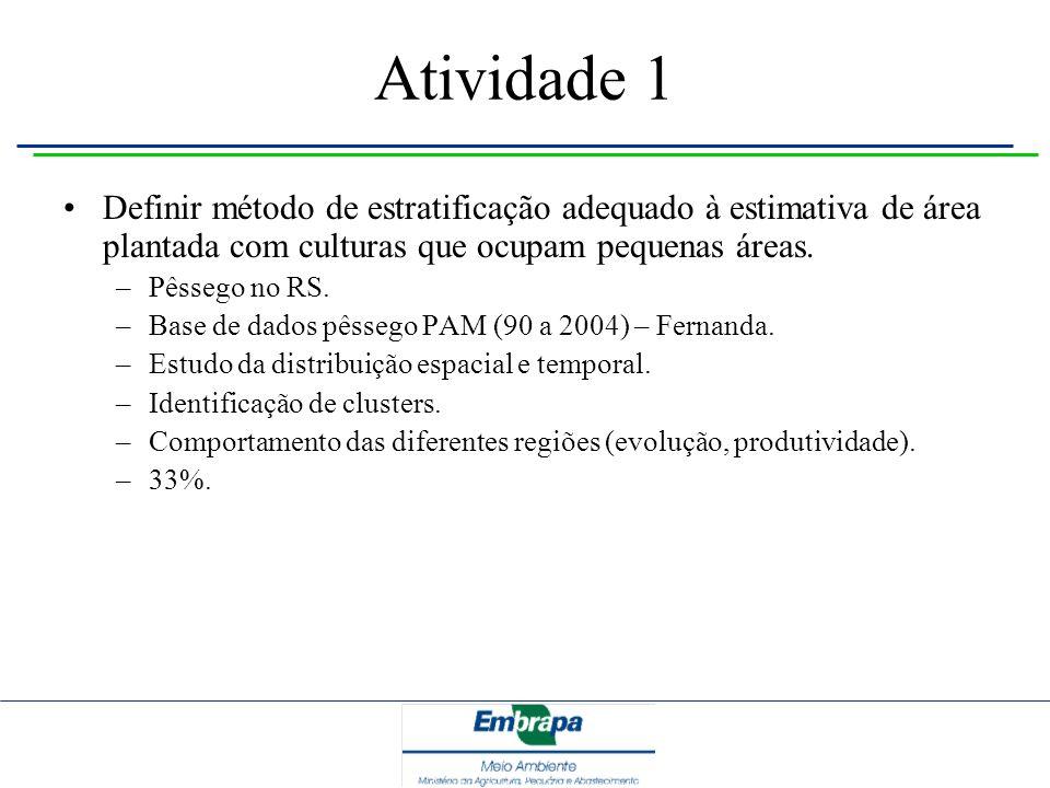 Atividade 1 Definir método de estratificação adequado à estimativa de área plantada com culturas que ocupam pequenas áreas.