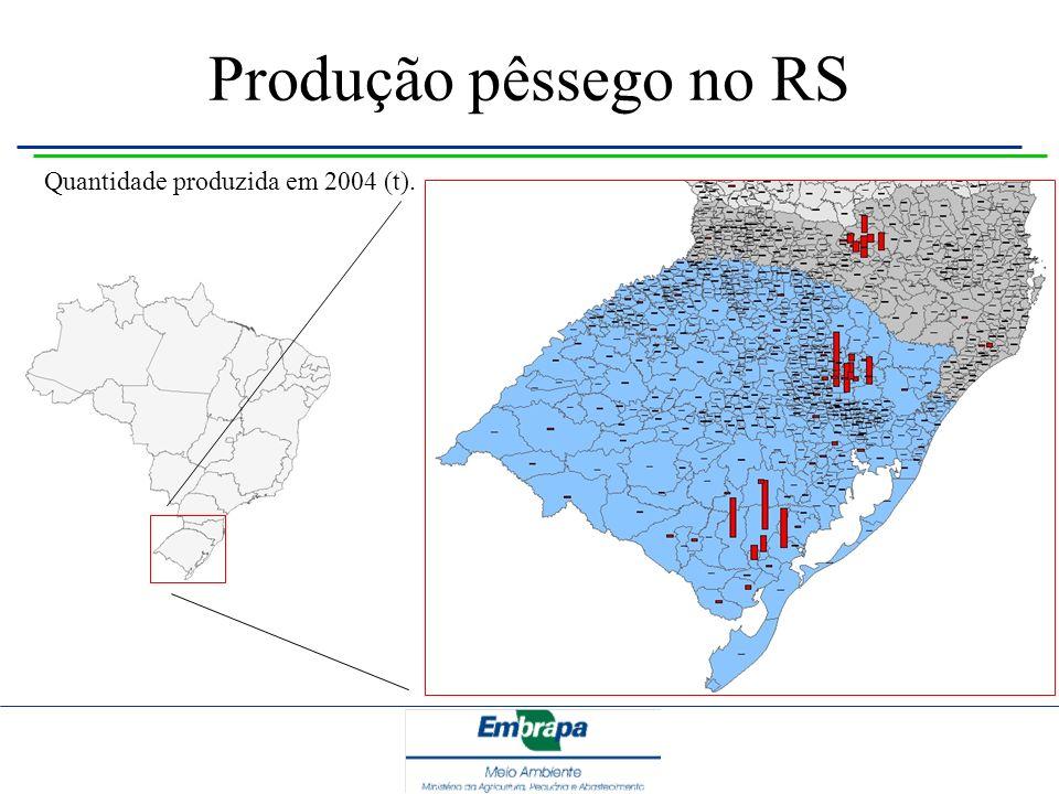 Produção pêssego no RS Quantidade produzida em 2004 (t).