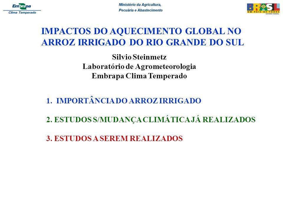 IMPACTOS DO AQUECIMENTO GLOBAL NO ARROZ IRRIGADO DO RIO GRANDE DO SUL