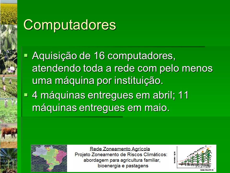 Computadores Aquisição de 16 computadores, atendendo toda a rede com pelo menos uma máquina por instituição.