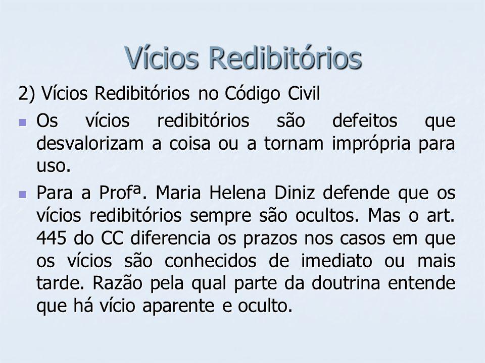 Vícios Redibitórios 2) Vícios Redibitórios no Código Civil