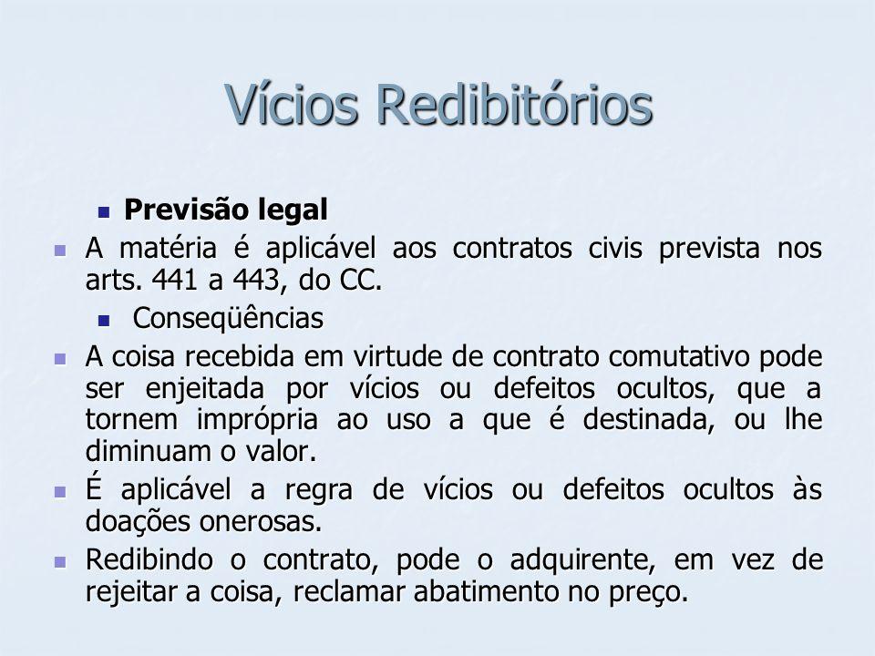 Vícios Redibitórios Previsão legal