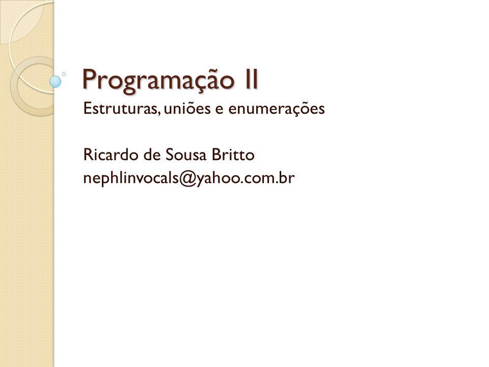 Programação II Estruturas, uniões e enumerações