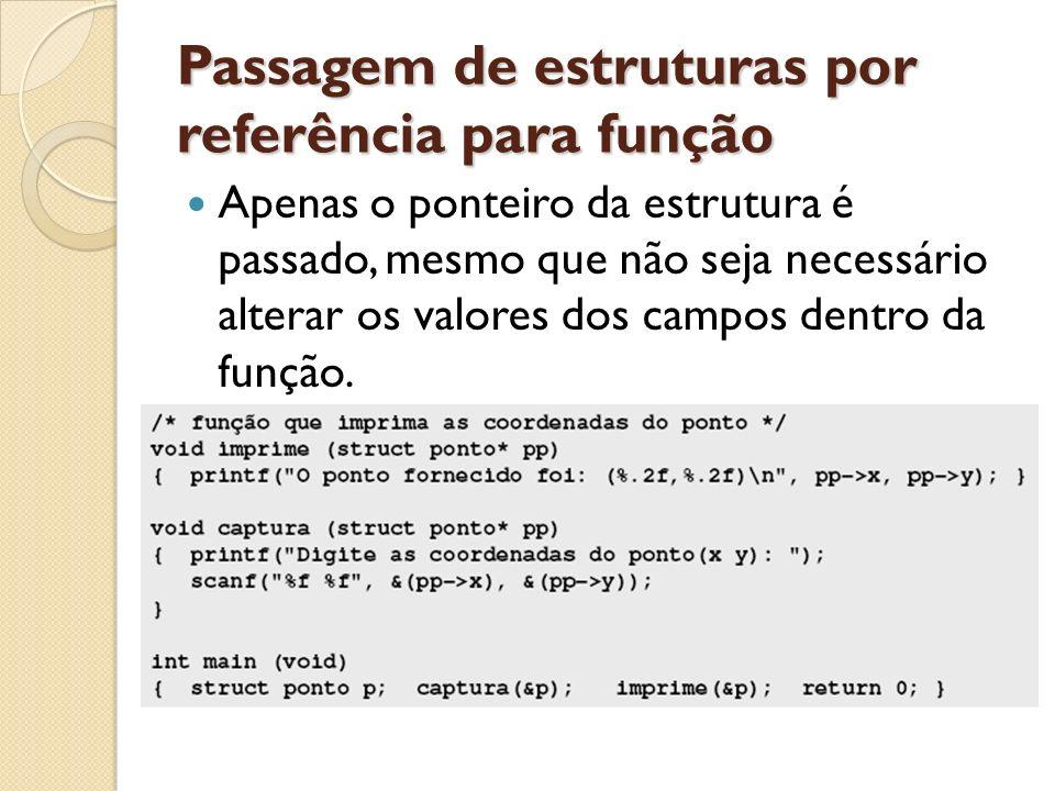 Passagem de estruturas por referência para função