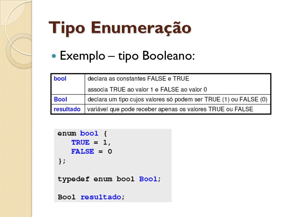 Tipo Enumeração Exemplo – tipo Booleano: