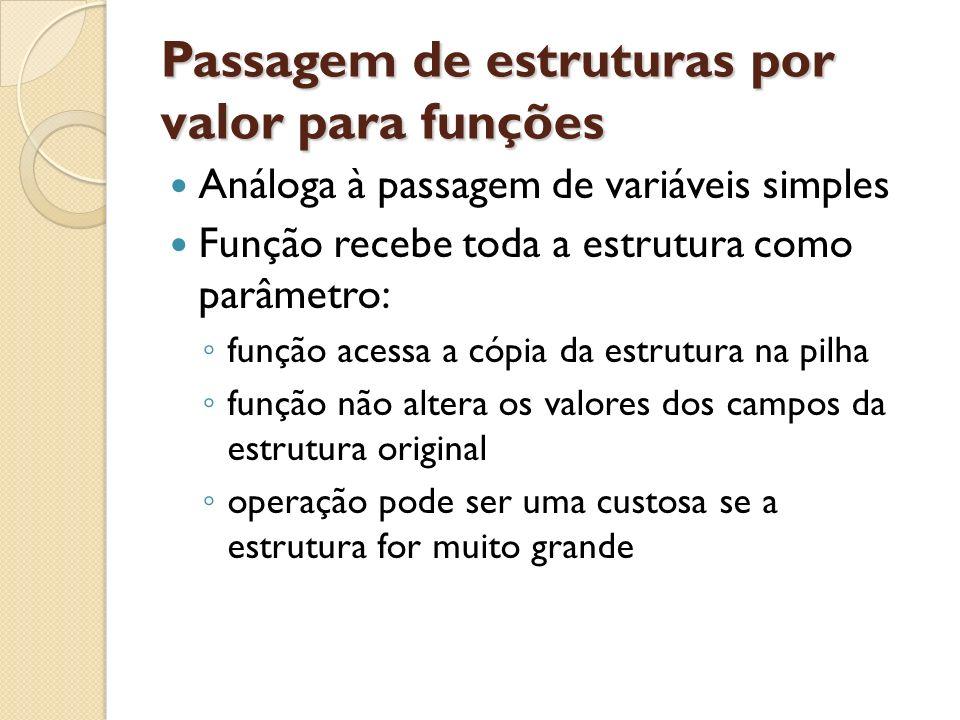 Passagem de estruturas por valor para funções
