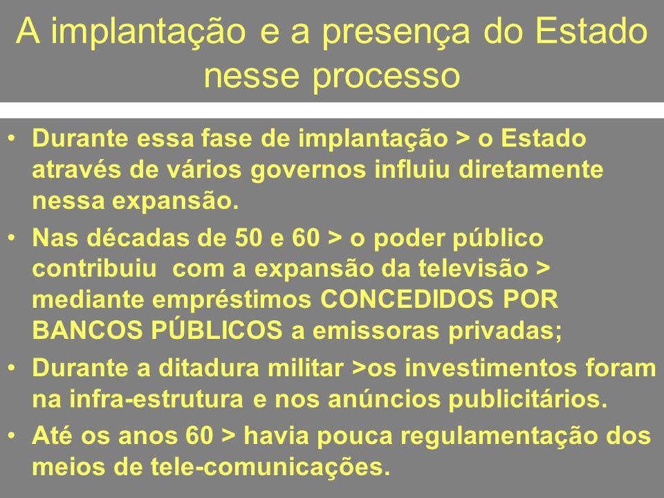 A implantação e a presença do Estado nesse processo