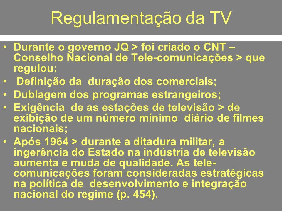 Regulamentação da TV Durante o governo JQ > foi criado o CNT – Conselho Nacional de Tele-comunicações > que regulou: