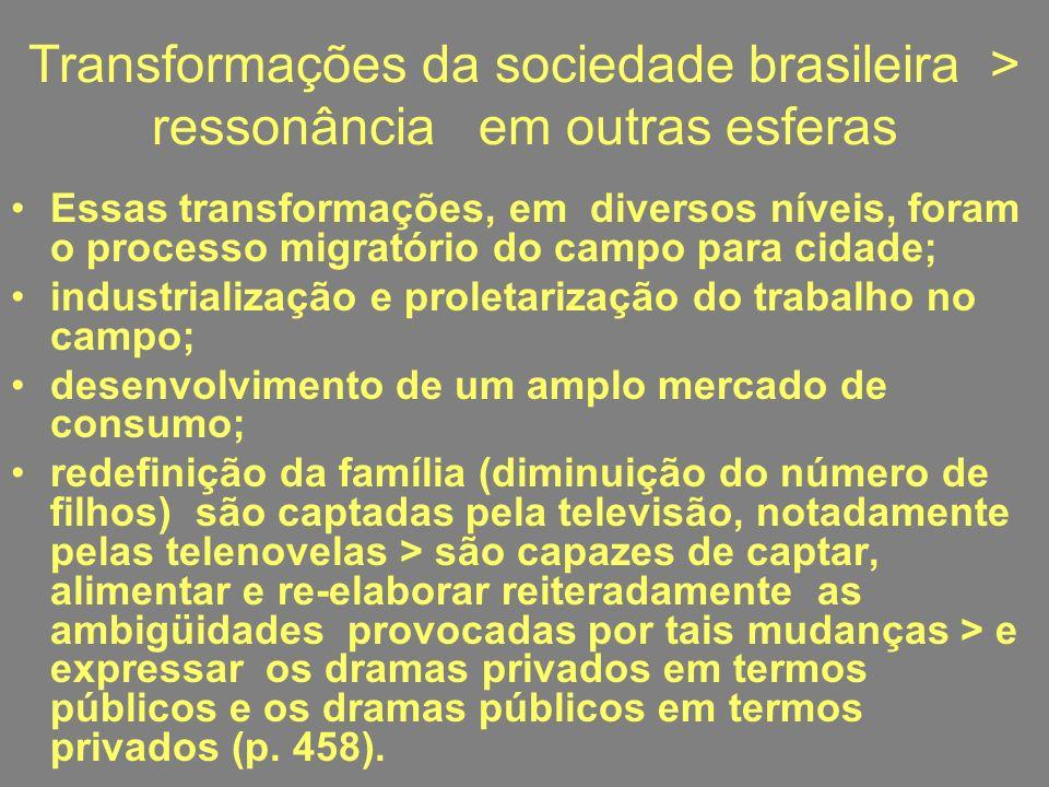 Transformações da sociedade brasileira > ressonância em outras esferas