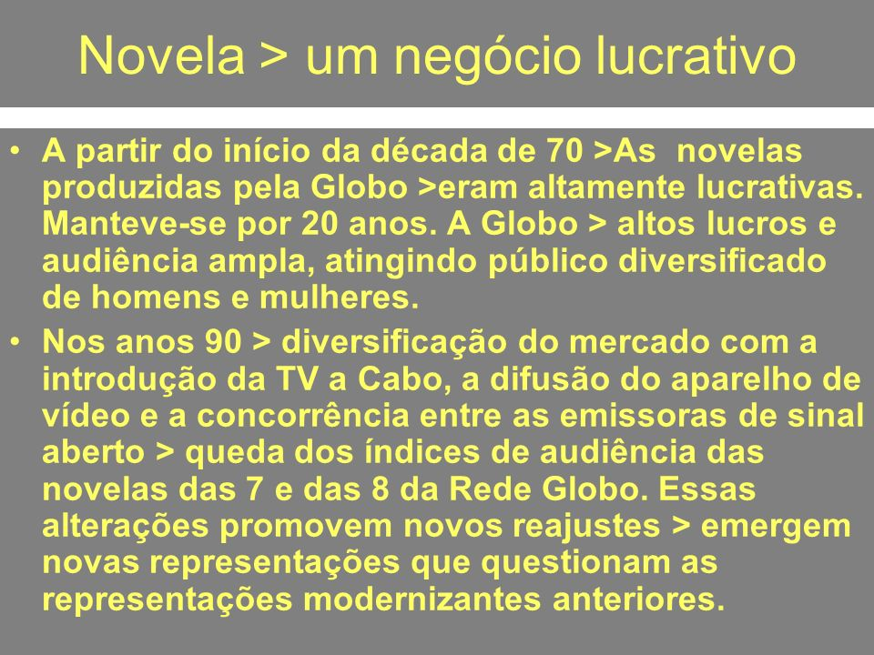 Novela > um negócio lucrativo