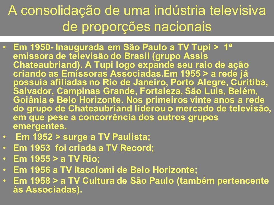 A consolidação de uma indústria televisiva de proporções nacionais
