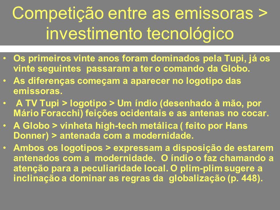 Competição entre as emissoras > investimento tecnológico