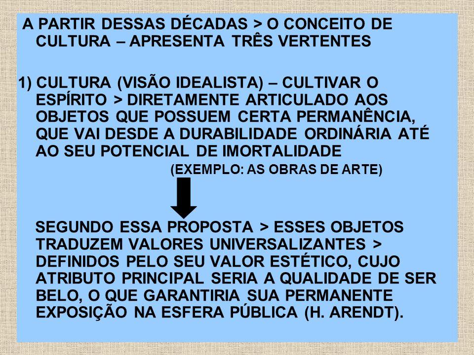 A PARTIR DESSAS DÉCADAS > O CONCEITO DE CULTURA – APRESENTA TRÊS VERTENTES