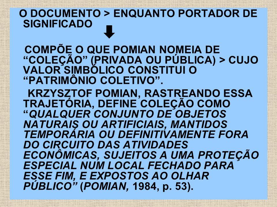 O DOCUMENTO > ENQUANTO PORTADOR DE SIGNIFICADO