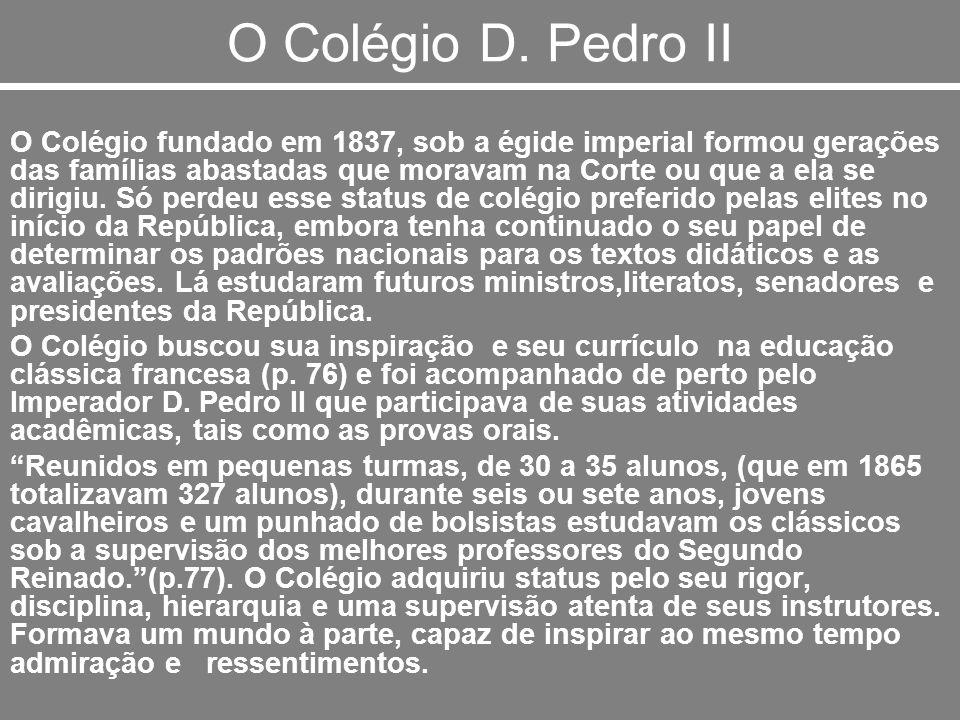 O Colégio D. Pedro II