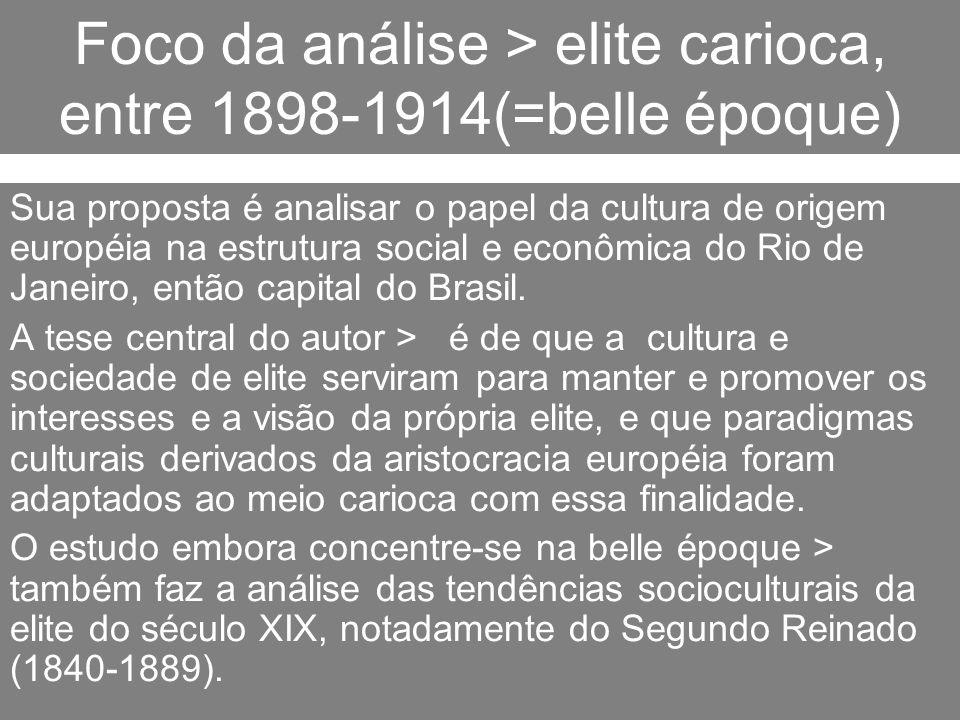 Foco da análise > elite carioca, entre 1898-1914(=belle époque)