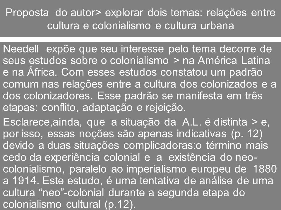 Proposta do autor> explorar dois temas: relações entre cultura e colonialismo e cultura urbana