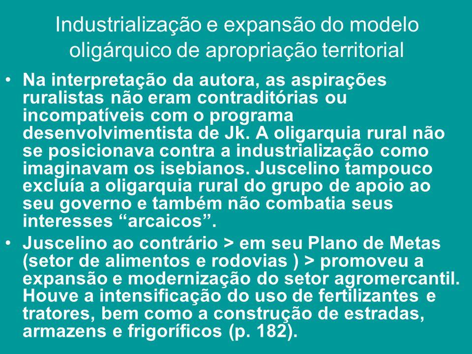 Industrialização e expansão do modelo oligárquico de apropriação territorial