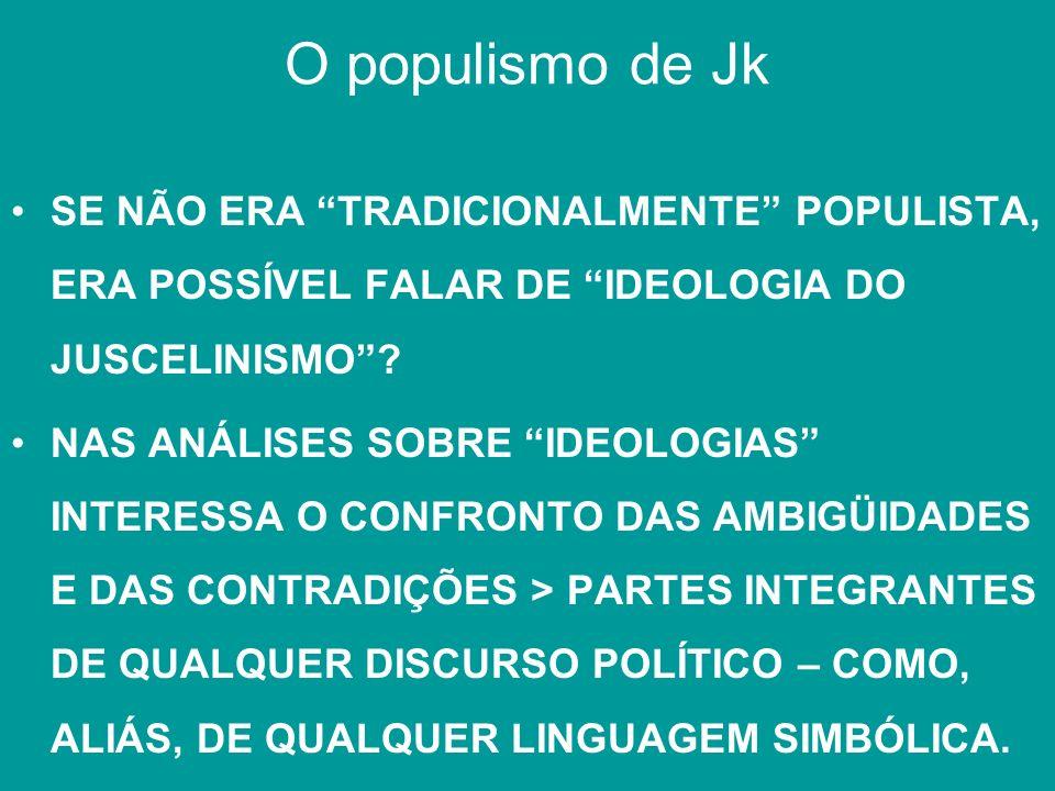 O populismo de Jk SE NÃO ERA TRADICIONALMENTE POPULISTA, ERA POSSÍVEL FALAR DE IDEOLOGIA DO JUSCELINISMO