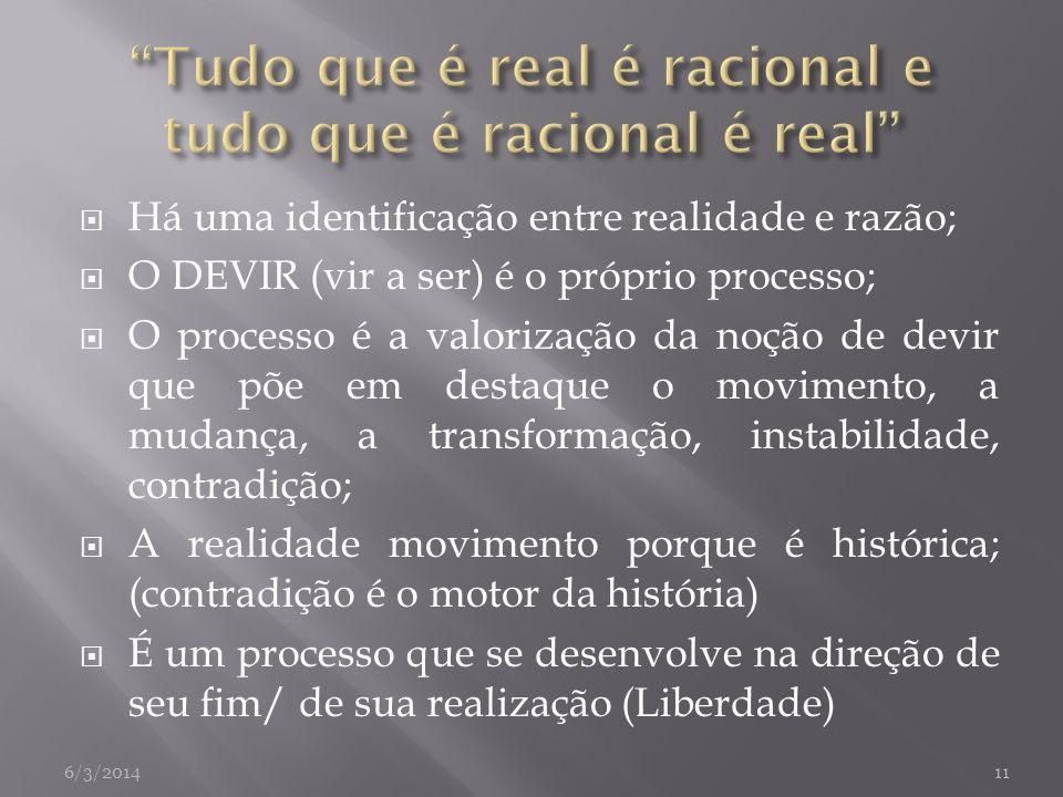 Tudo que é real é racional e tudo que é racional é real