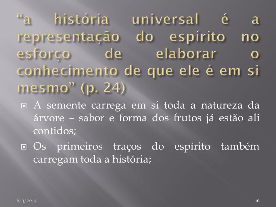 a história universal é a representação do espírito no esforço de elaborar o conhecimento de que ele é em si mesmo (p. 24)