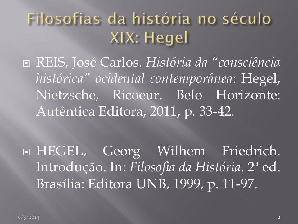 Filosofias da história no século XIX: Hegel