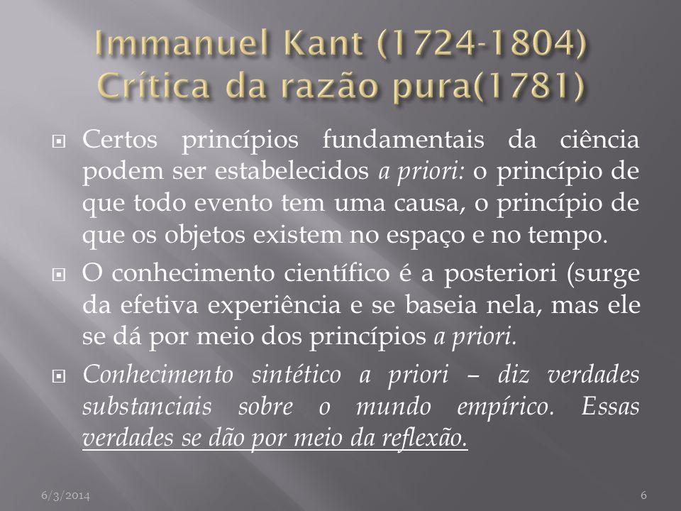 Immanuel Kant (1724-1804) Crítica da razão pura(1781)
