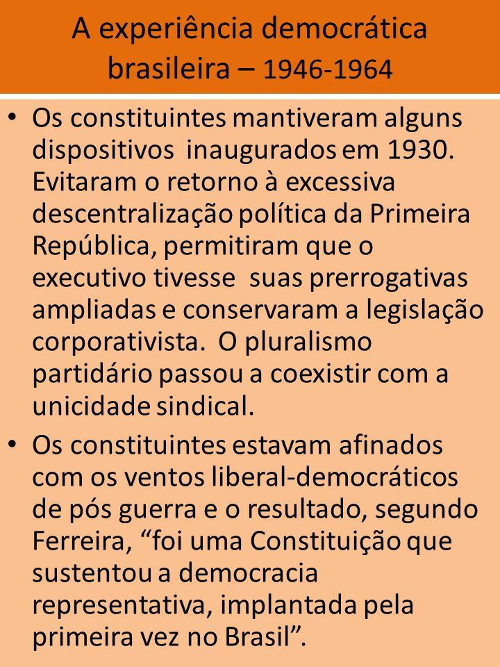 A experiência democrática brasileira – 1946-1964