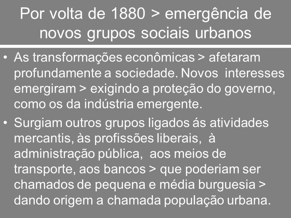 Por volta de 1880 > emergência de novos grupos sociais urbanos