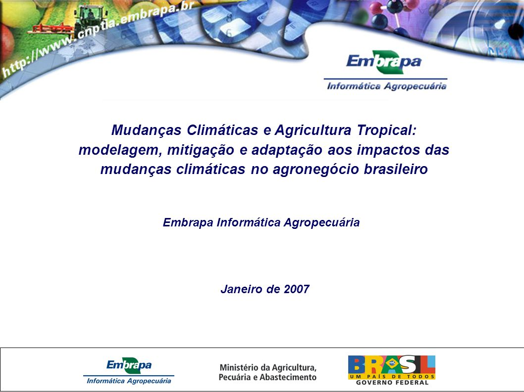 Mudanças Climáticas e Agricultura Tropical: