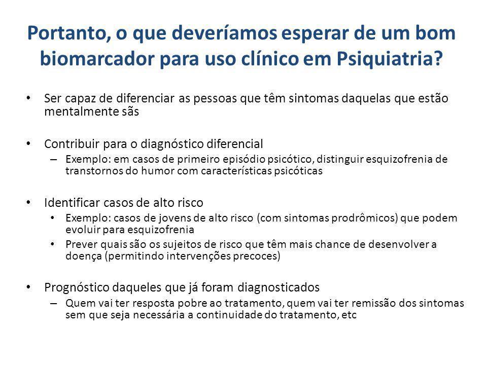 Portanto, o que deveríamos esperar de um bom biomarcador para uso clínico em Psiquiatria