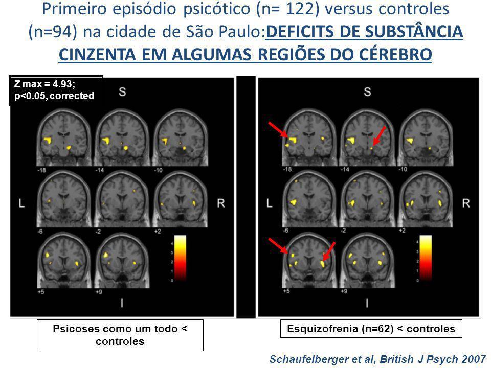 Primeiro episódio psicótico (n= 122) versus controles (n=94) na cidade de São Paulo:DEFICITS DE SUBSTÂNCIA CINZENTA EM ALGUMAS REGIÕES DO CÉREBRO