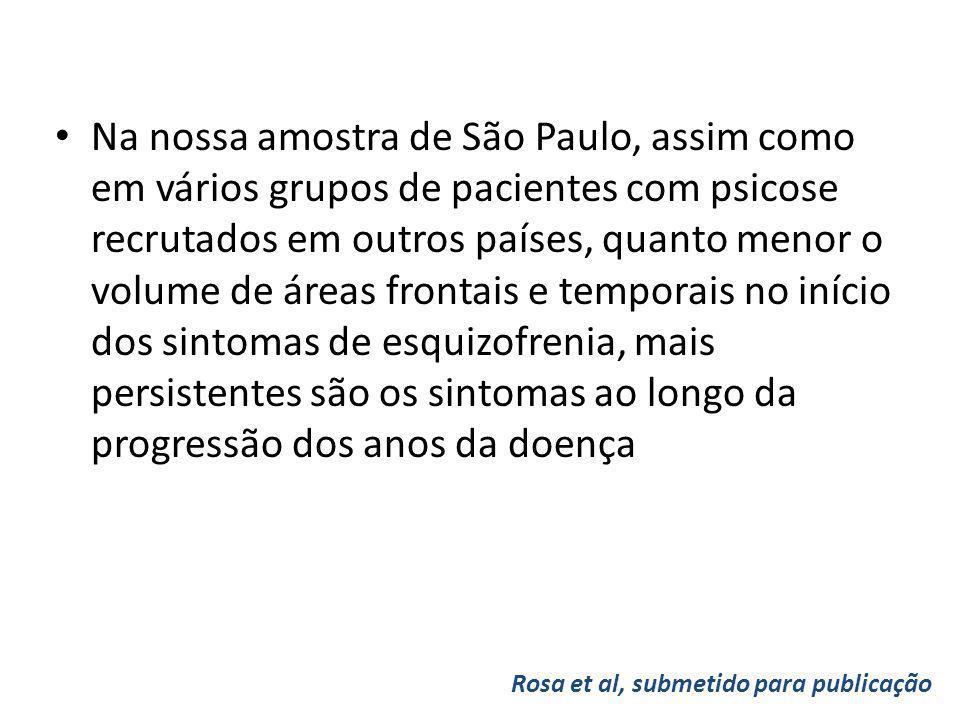 Na nossa amostra de São Paulo, assim como em vários grupos de pacientes com psicose recrutados em outros países, quanto menor o volume de áreas frontais e temporais no início dos sintomas de esquizofrenia, mais persistentes são os sintomas ao longo da progressão dos anos da doença