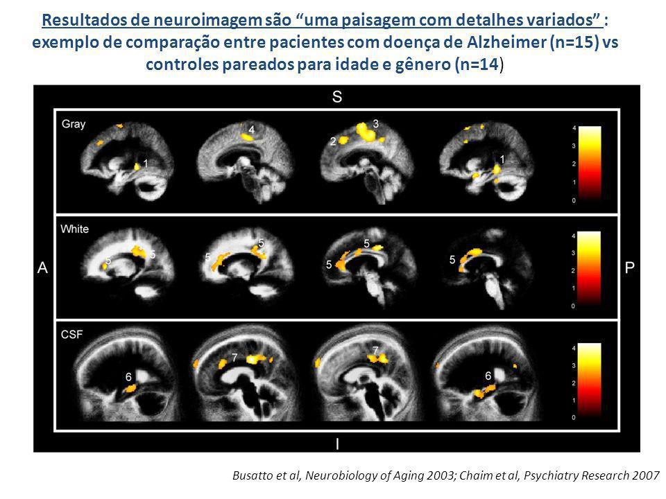 Resultados de neuroimagem são uma paisagem com detalhes variados : exemplo de comparação entre pacientes com doença de Alzheimer (n=15) vs controles pareados para idade e gênero (n=14)