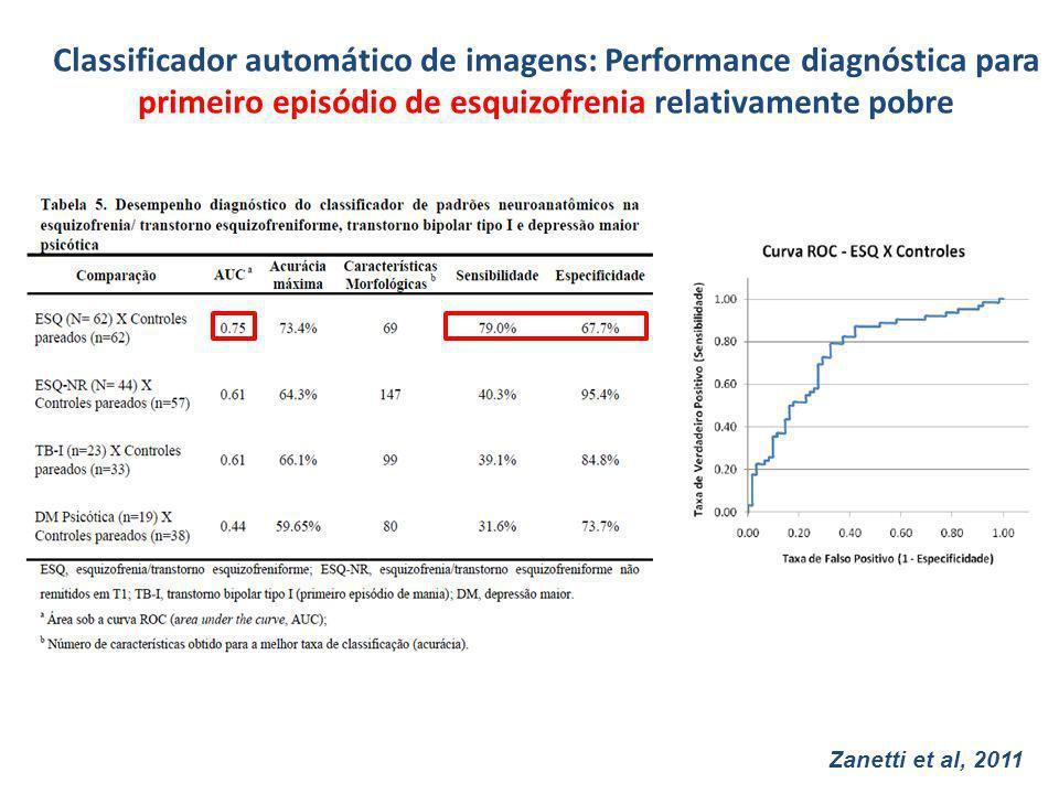 Classificador automático de imagens: Performance diagnóstica para primeiro episódio de esquizofrenia relativamente pobre
