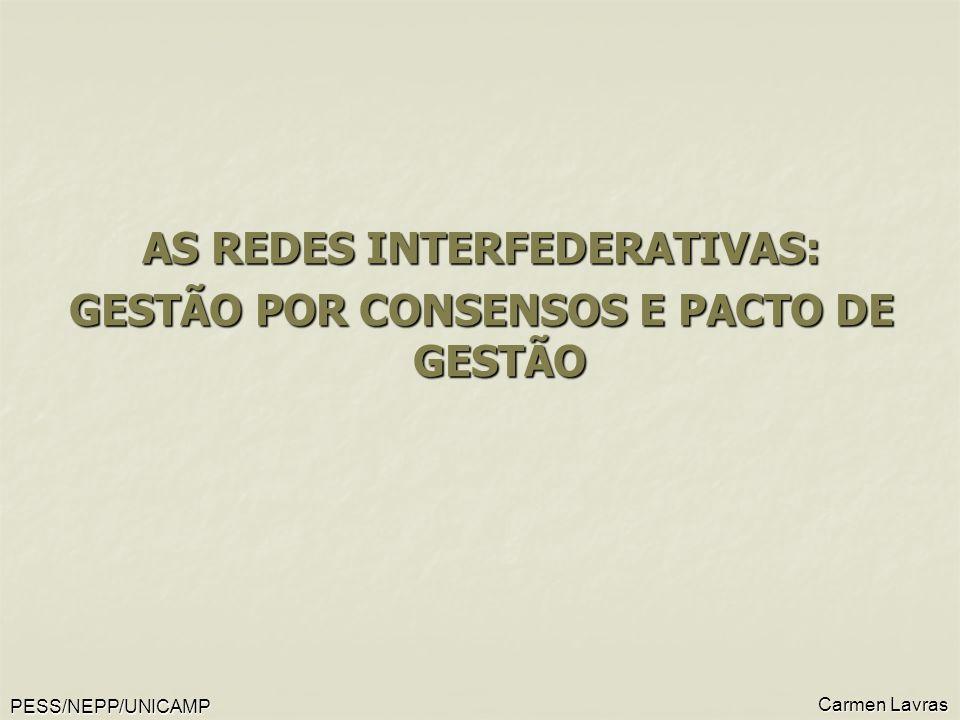 AS REDES INTERFEDERATIVAS: GESTÃO POR CONSENSOS E PACTO DE GESTÃO