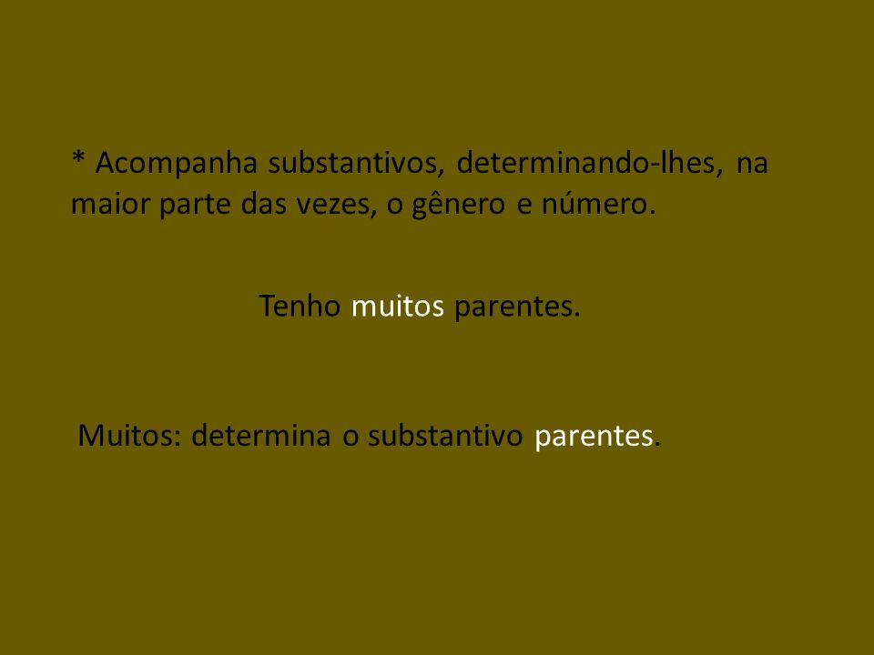 * Acompanha substantivos, determinando-lhes, na maior parte das vezes, o gênero e número.