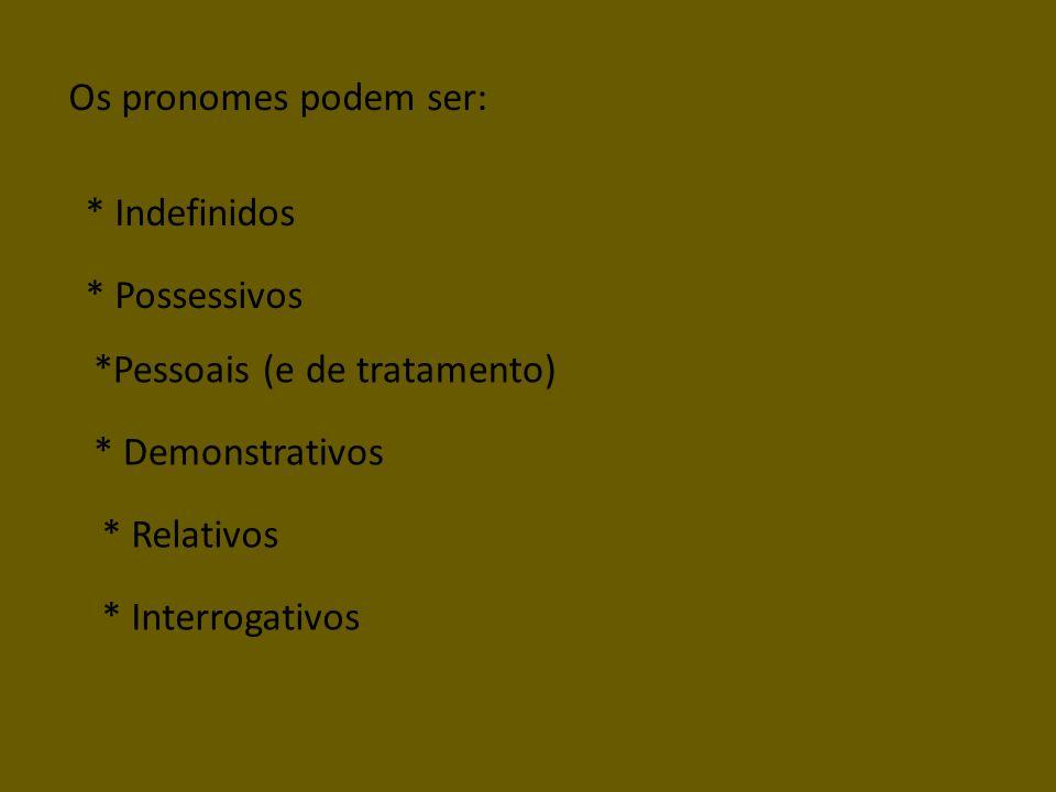 Os pronomes podem ser: * Indefinidos. * Possessivos. *Pessoais (e de tratamento) * Demonstrativos.