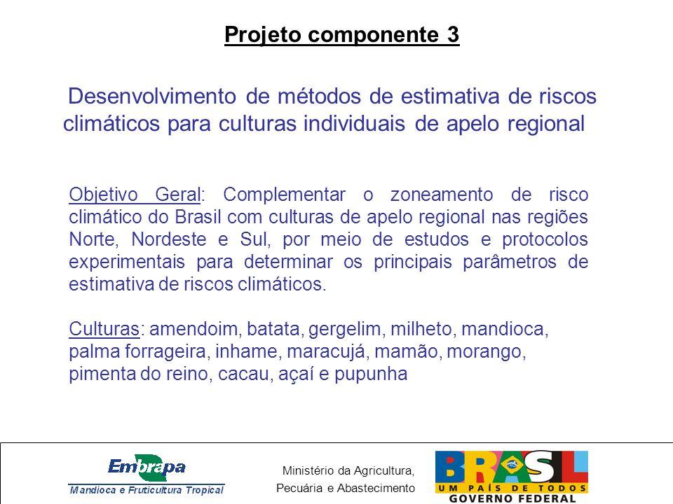 Projeto componente 3 Desenvolvimento de métodos de estimativa de riscos climáticos para culturas individuais de apelo regional.