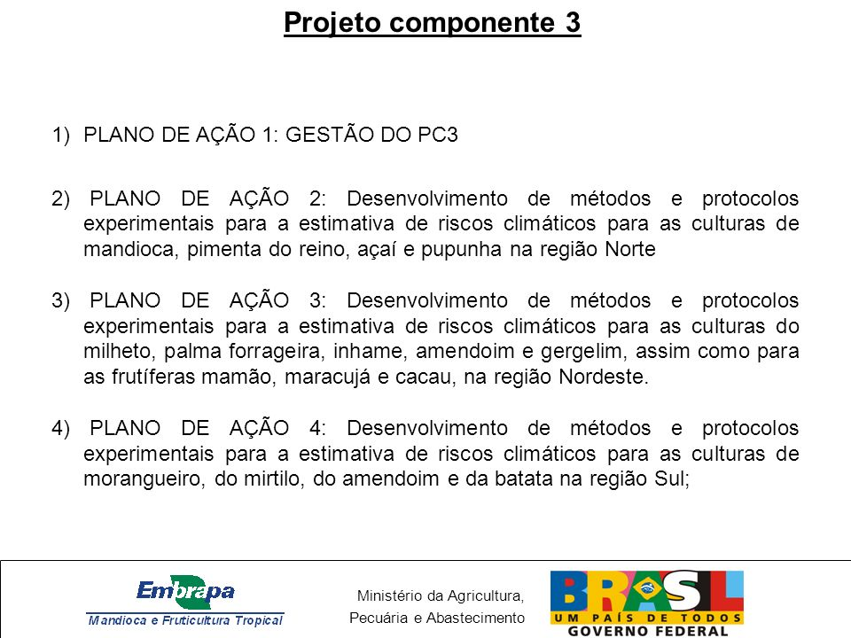 Projeto componente 3 PLANO DE AÇÃO 1: GESTÃO DO PC3
