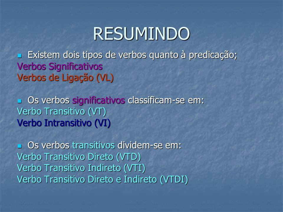 RESUMINDO Existem dois tipos de verbos quanto à predicação;