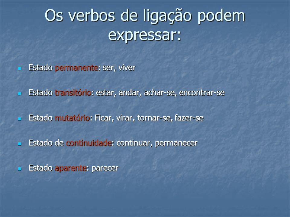 Os verbos de ligação podem expressar:
