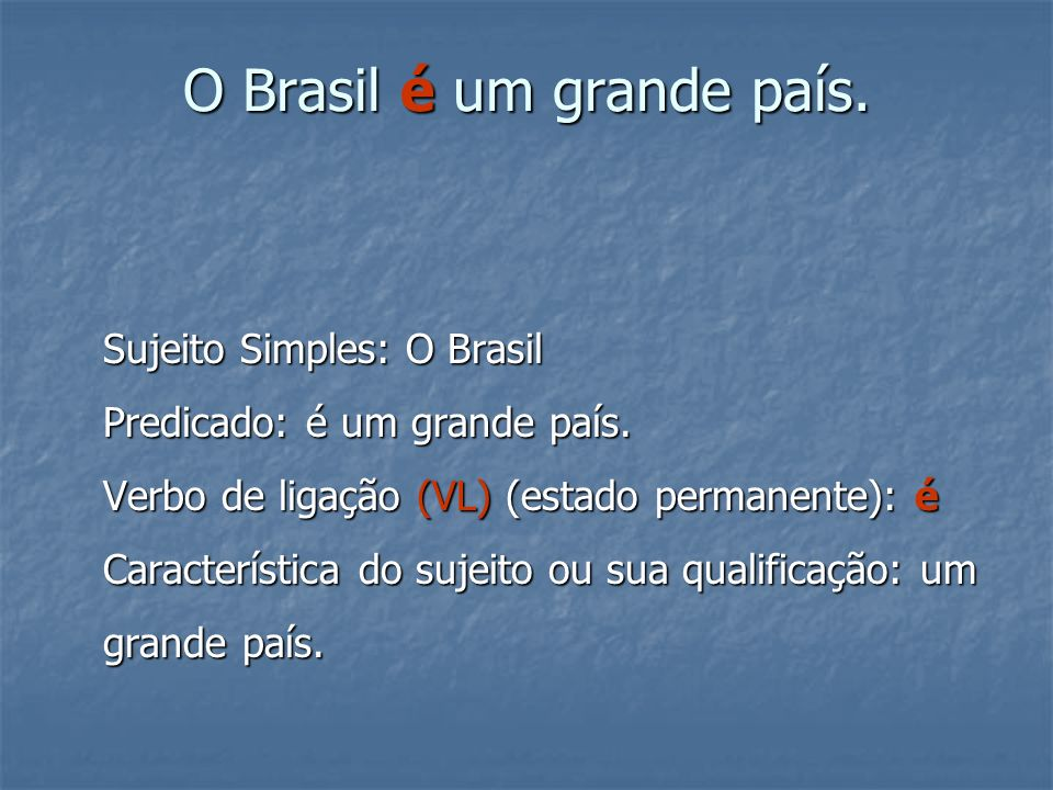 O Brasil é um grande país.