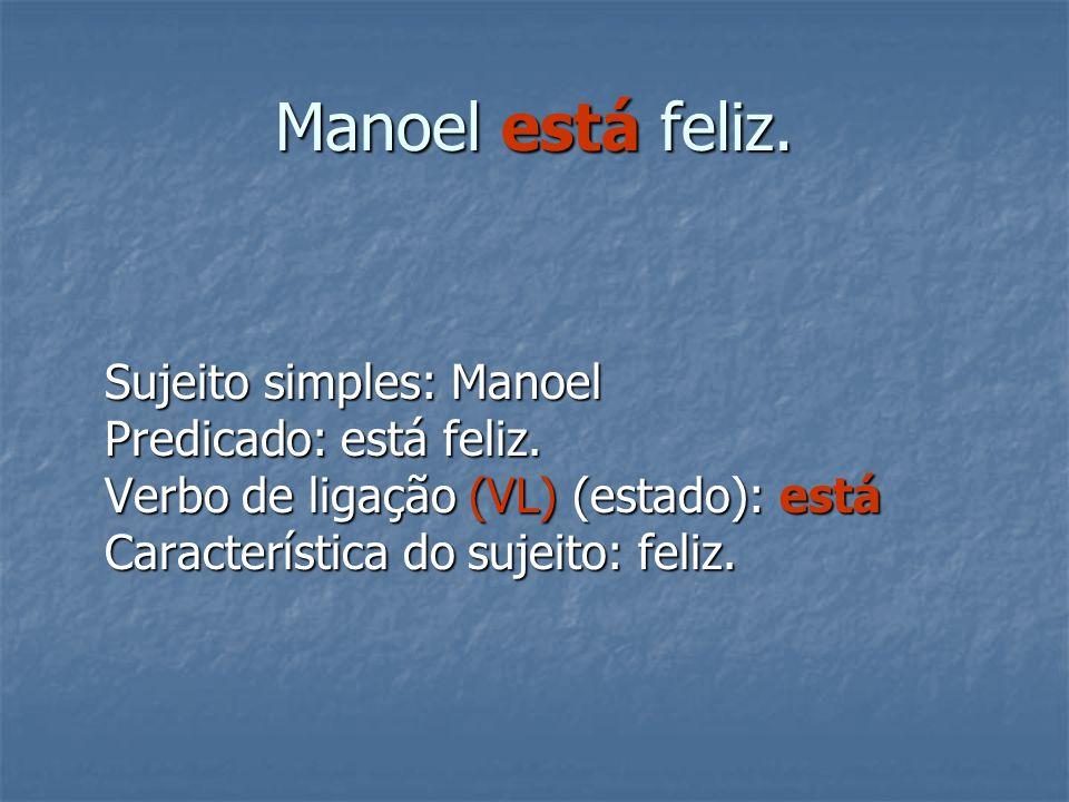 Manoel está feliz.Sujeito simples: Manoel Predicado: está feliz.