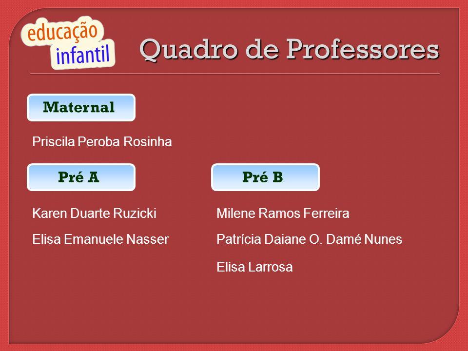Quadro de Professores Maternal Pré A Pré B Priscila Peroba Rosinha