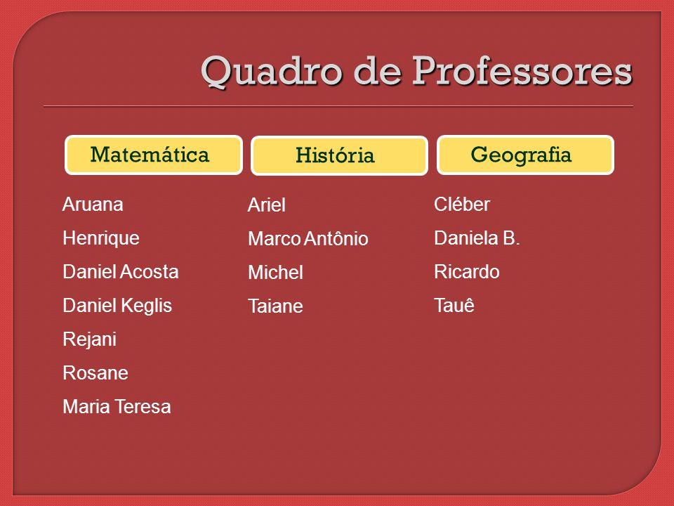 Quadro de Professores Matemática História Geografia Aruana Henrique