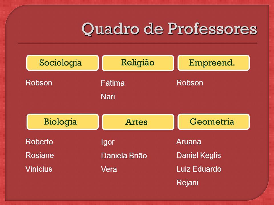 Quadro de Professores Sociologia Religião Empreend. Biologia Artes