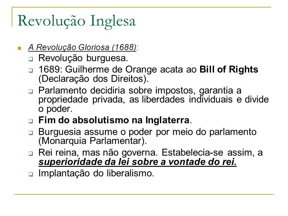 Revolução Inglesa Revolução burguesa.