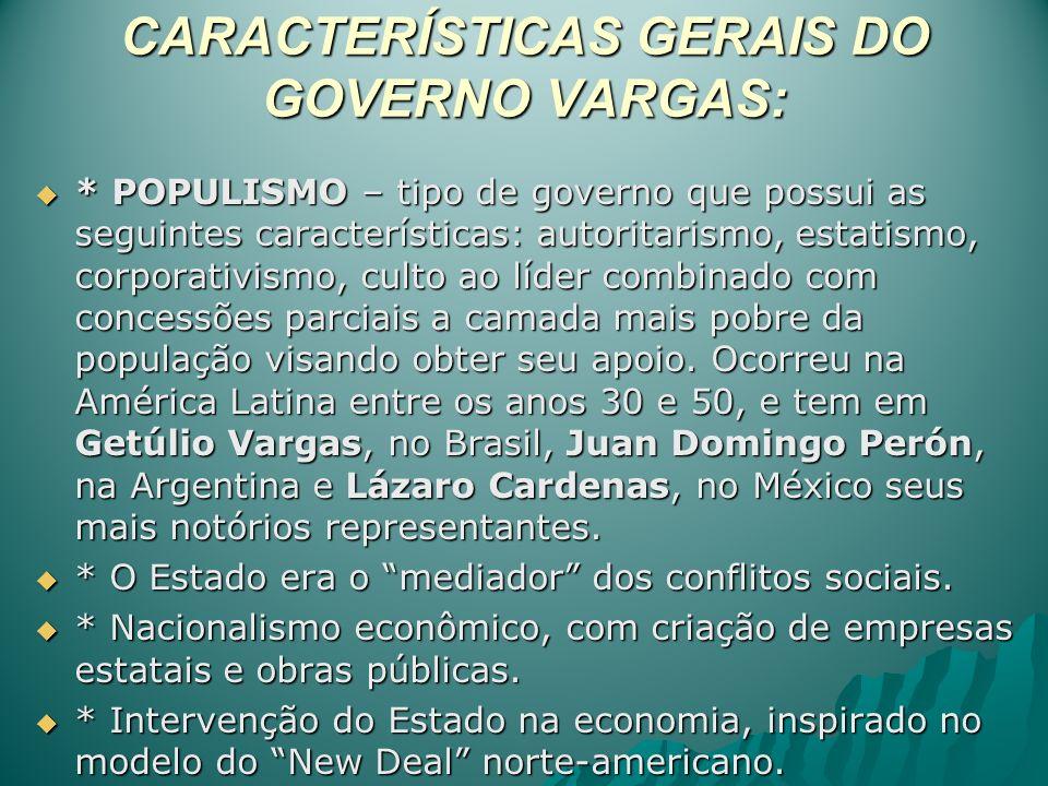 CARACTERÍSTICAS GERAIS DO GOVERNO VARGAS: