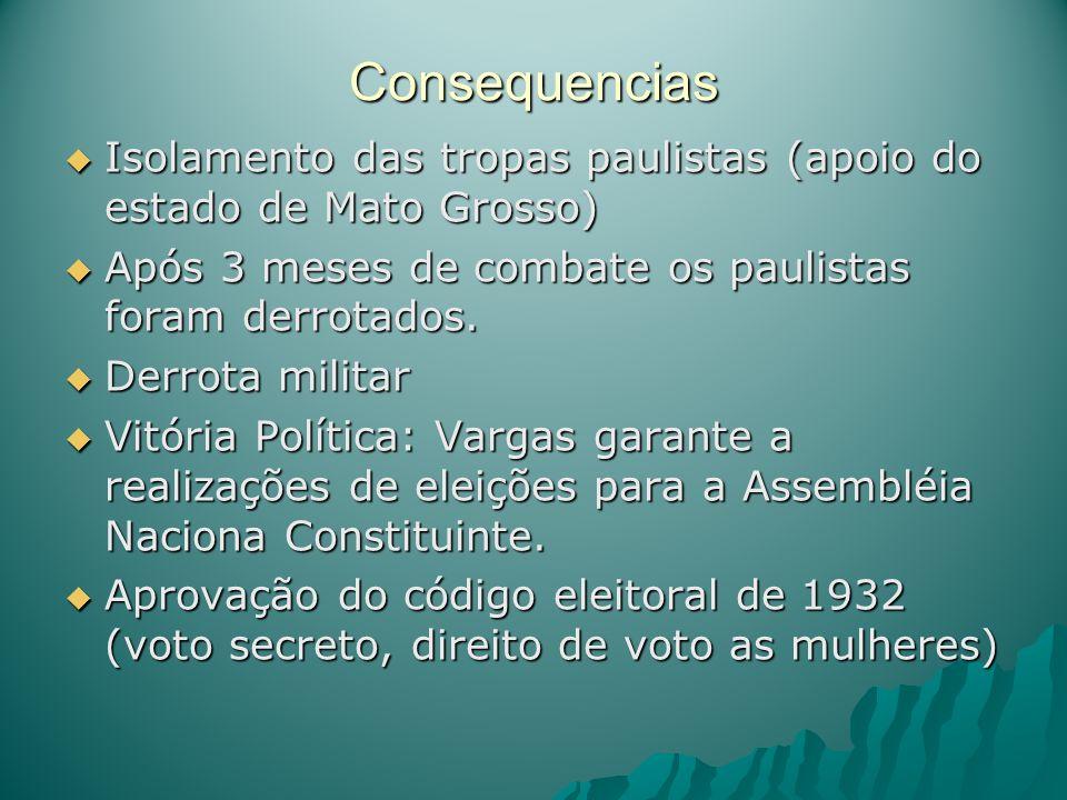 Consequencias Isolamento das tropas paulistas (apoio do estado de Mato Grosso) Após 3 meses de combate os paulistas foram derrotados.